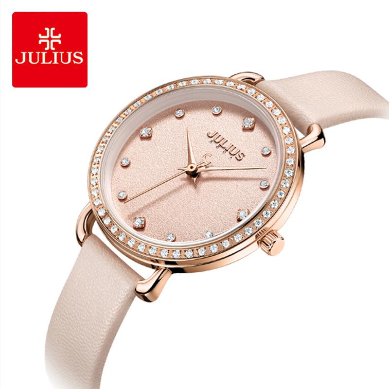Julius Woman Classic Pink Leather Watch Brand Lady Luxury Zircon Inlaid Round Quartz Wristwatches Dress Reloj Mujer Love Gifts