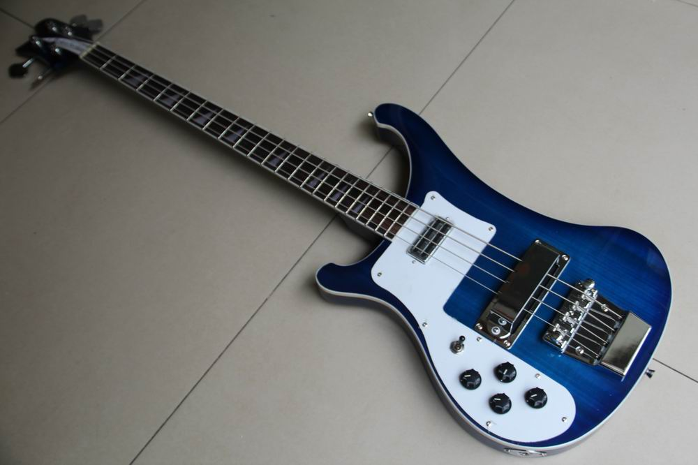 hot sale left handed rick 4003 4 string electric bass guitar in blue burst top quality 120117 in. Black Bedroom Furniture Sets. Home Design Ideas
