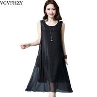 New 2018 Chiffon Women S Dress O Neck Casual Summer Sleeveless Fashion Elegent Dresses Plus Size
