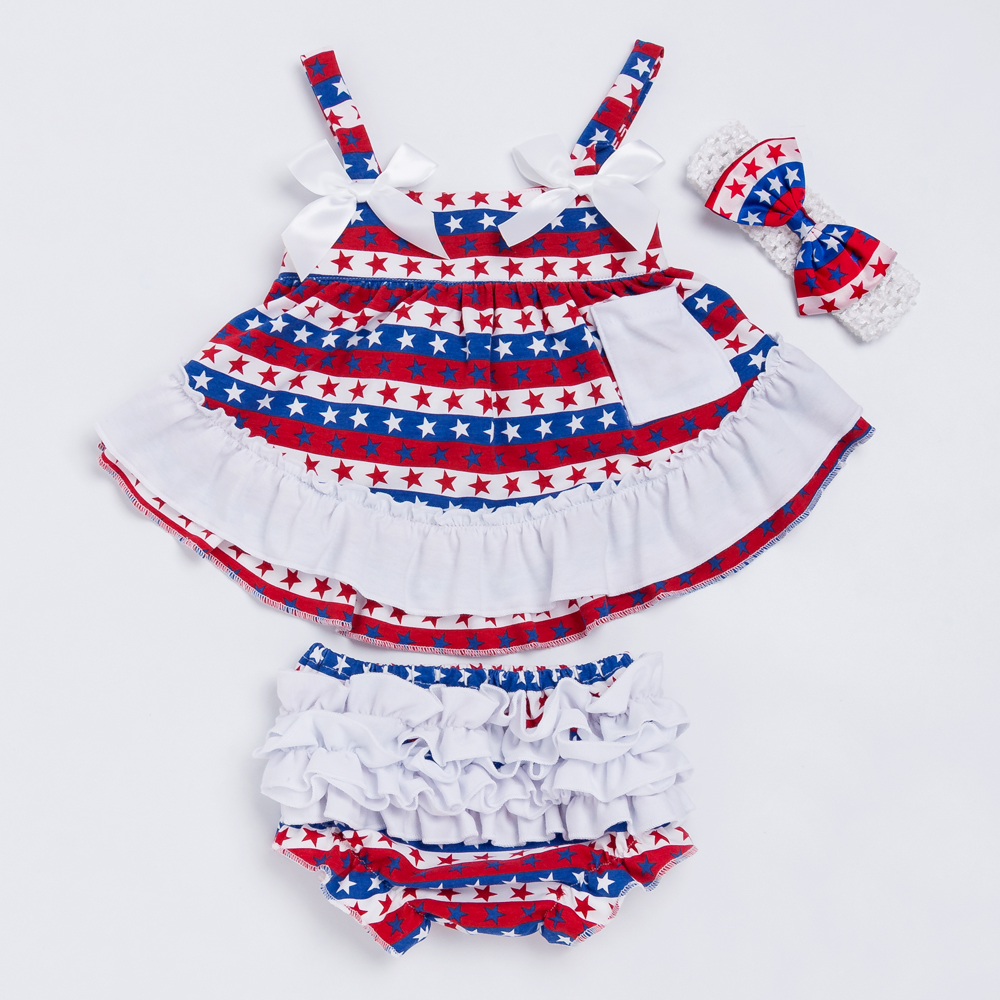 YK&Loving Star Print Girl Outfit 4th of July Baby Girl Suspender Swing Top Set Dress 2pcs Newborn Bloomer Outfit Toddler Clothes