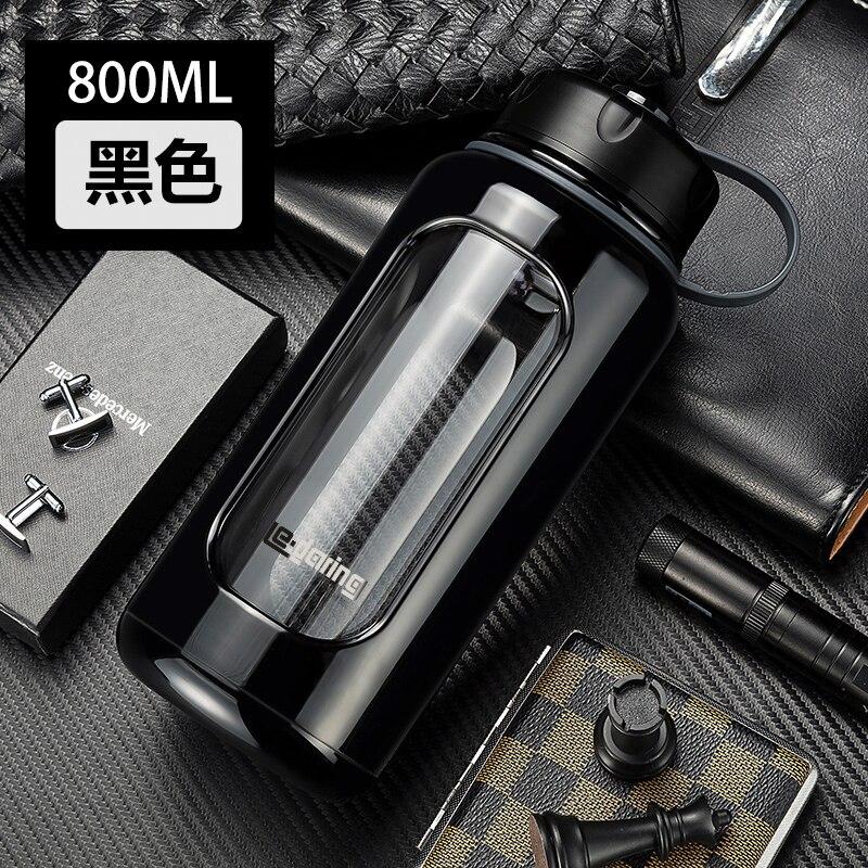 1000 ml di plastica di vetro di grandi dimensioni bottiglia di acqua doppio resistente al calore tazza, portatile anti-smashing anti-rottura cup per gli uomini e le donne