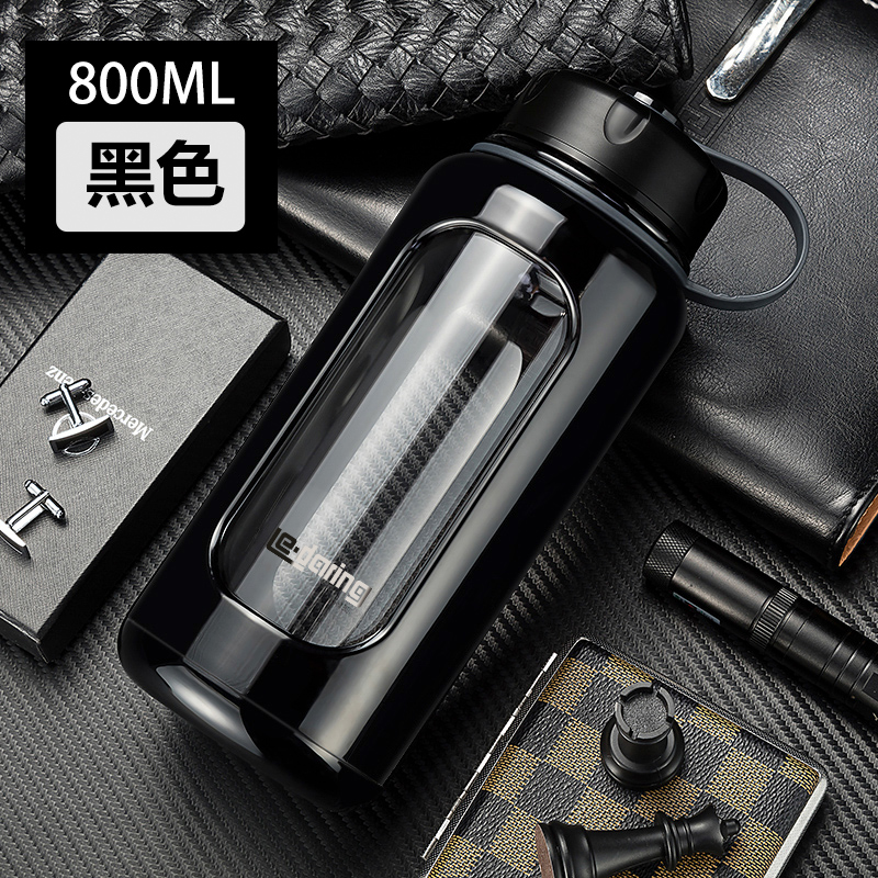 1000ml plastic glass large water bottle double heat resistant cup, portable anti smashing anti breaking cup for men and women