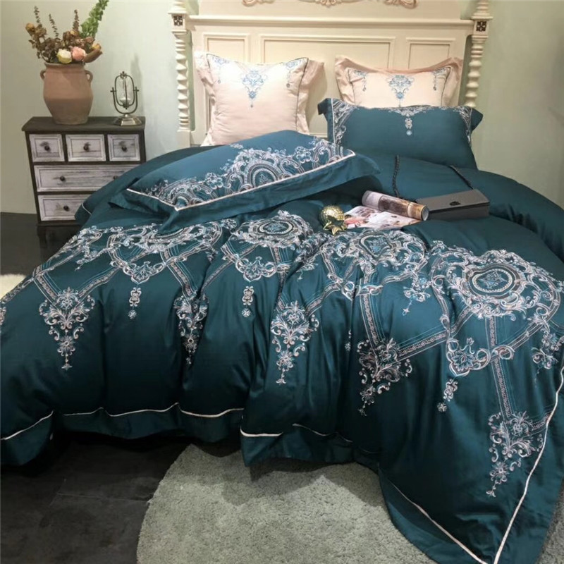 Blue Luxury 80S Egyptian Cotton Royal Embroidery Bedding Set Duvet Cover Bed sheet Bed Linen Pillowcases Queen King Size 4/7pcsBlue Luxury 80S Egyptian Cotton Royal Embroidery Bedding Set Duvet Cover Bed sheet Bed Linen Pillowcases Queen King Size 4/7pcs
