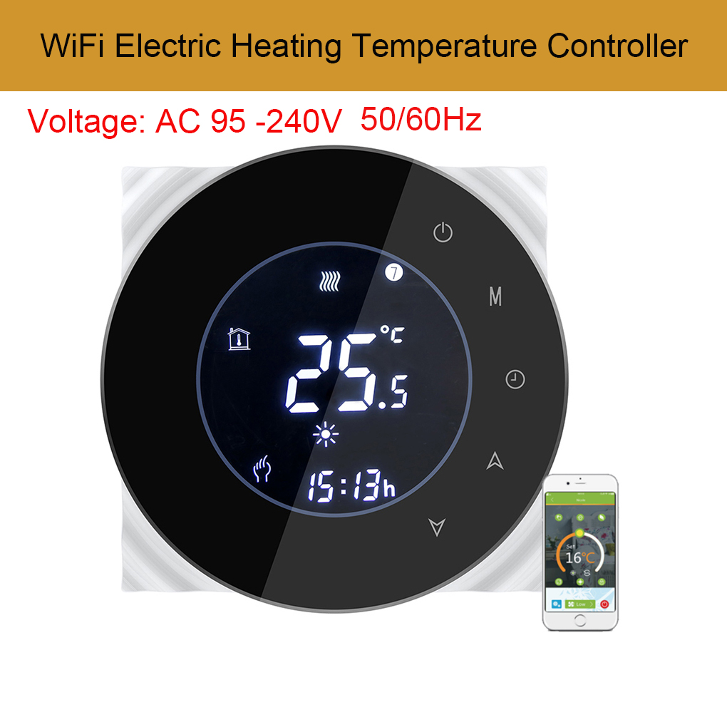Electric Heating Temperature Controller 16A Smart WiFi Control Programing Thermostat Negative LCD Touchscreen radio frequency control wireless boiler thermostat temperature controller