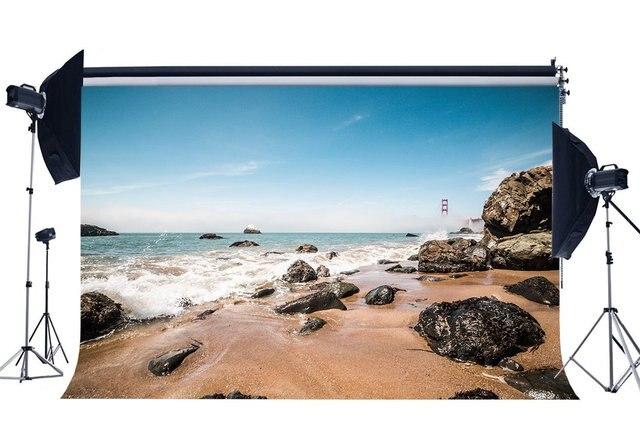 Bord de mer sable plage toile de fond vagues pierres de roche bleu ciel blanc nuage Nature romantique été vacances fond