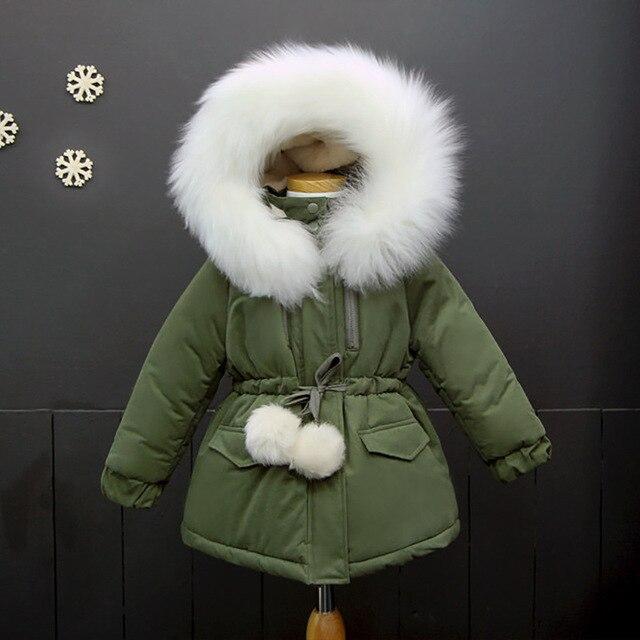 ccf02a51a0ce New Children Winter Jackets for Girls Outerwear Faux Fur Collar ...