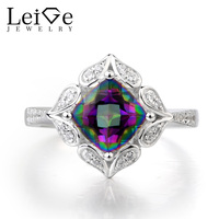 Leige Jewelry Mystic Topaz Ring Fire Rainbow Topaz Ring Solid 925 Sterling Silver Gifts For Her