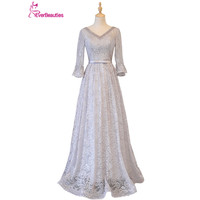 Light Grey Evening Dresses Long 2017 Tulle Lace Beaded Prom Party Dresses V Neck Lace Up
