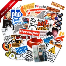 100 pcs Internet Programming stickers for Laptop Programer science JS Php C Language Cloud Docker Developer sticker js easy php page 4