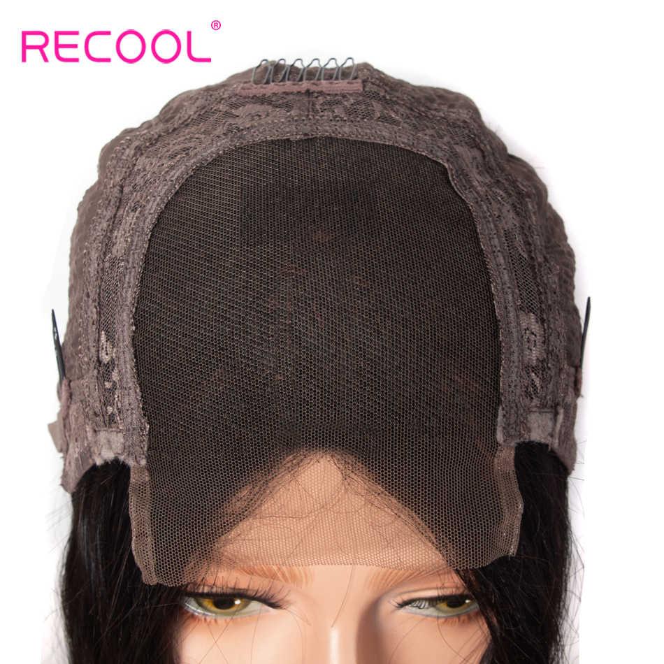 Recool кудрявый прямой парик предварительно сорвал человеческие волосы парики для черных женщин Remy бразильские волосы на фронте шнурка с волосами младенца