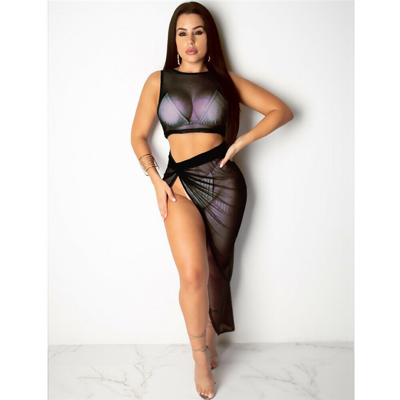 2019 Women's Sheer Mesh See Through Transparent Crop Top Slit Skirt Bikini Cover Up Bathing Suit Beach Cover Ups Set