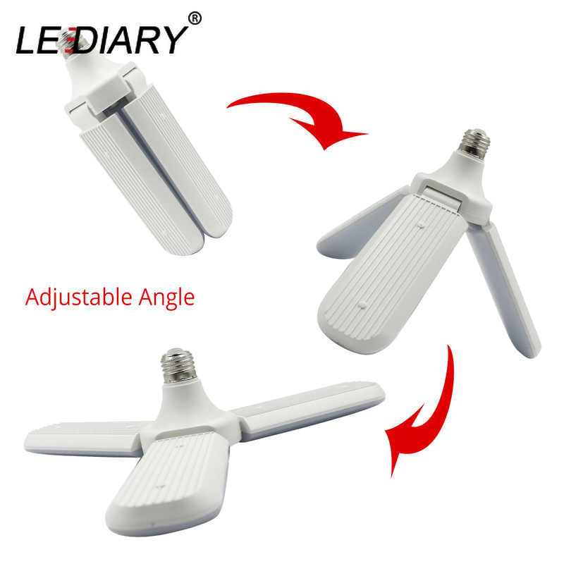Lediary 96 265v 45w E27 Led Bulb Super Bright Foldable Fan Blade Angle Adjule Ceiling