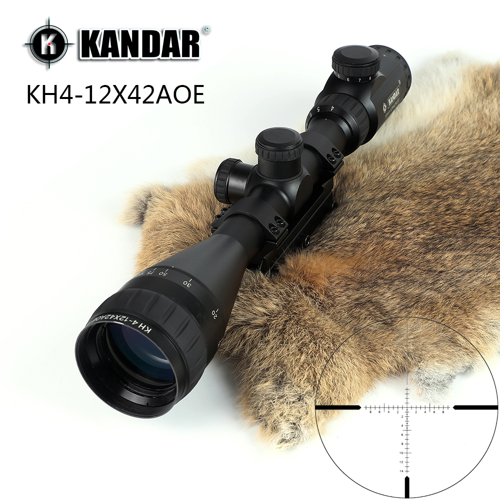 KANDAR KH 4-12x42 AOE Hunting Riflescope Red Illuminated Glass Etched Reticle Sniper Optic Rifle Scope Sight with Ring kandar 4 5 14x50 hunting riflescope red special cross glass reticle sniper optic scope sight for rifle with 11mm or 20mm mount