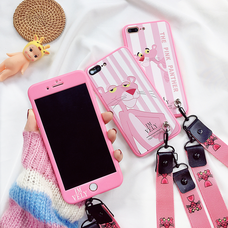 For Iphone 7 7Plus Pink Panther Case, Cute Front + Back 360 Soft Cover Iphone X 6 6S 6S Plus 8 8Plus Fudas + Strap