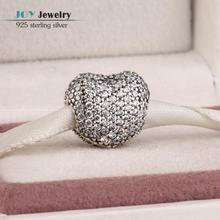 2015 el más nuevo pavimenta Clear Cz 925 de plata del corazón Lock Clip granos del encanto Fit a estrenar pulsera mujeres joyería día de san valentín regalo
