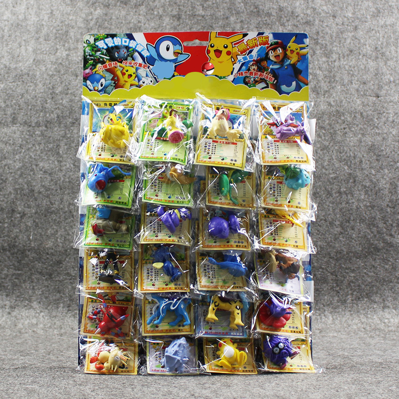Pikachu Figures Toys 2-6cm Pikachu Charizard Eevee Bulbasaur Suicune PVC Mini Model Toys with Cards 24pcs/lot action figure pokemon