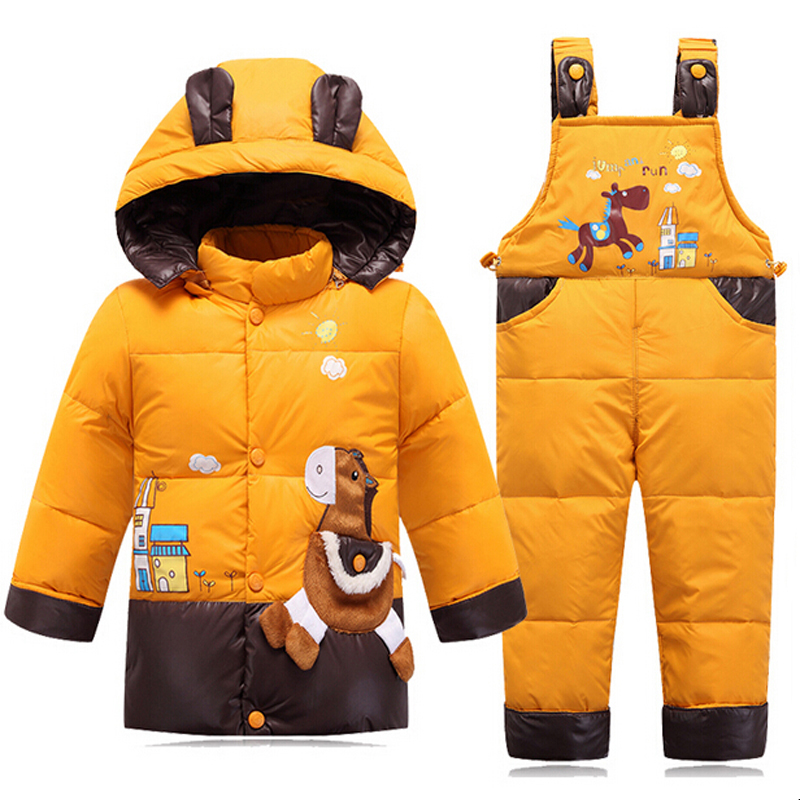 Down Jacket For Girls Snowsuit Winter Overalls For Boy Children Warm Jackets Toddler Outerwear Baby Suits Coat + Pant Set 2-4Y kids snowsuit clothes winter down jackets for girls boy children warm jacket toddler outerwear coat pant set deer print clothing