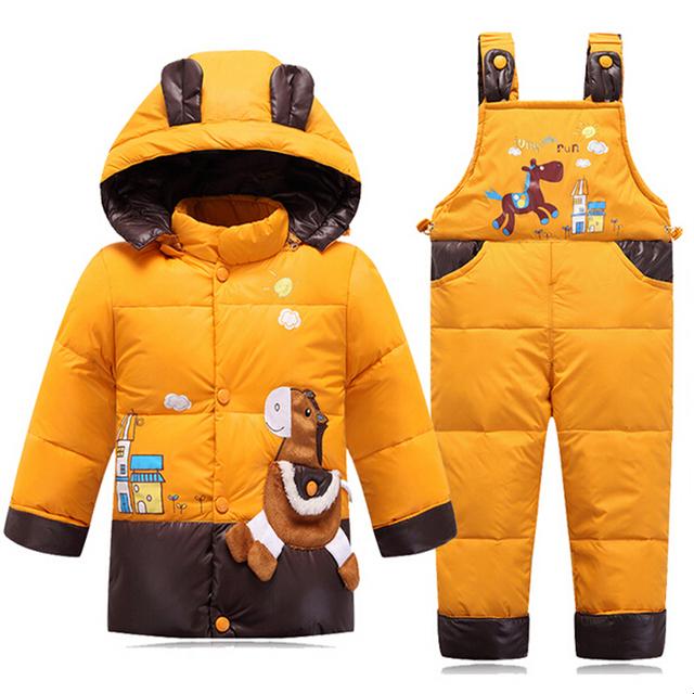 Por la Chaqueta Para Niñas Invierno Traje Para La Nieve Trajes de Trabajo Para Boy Niños Chaquetas de abrigo Niño prendas de Vestir Exteriores del Bebé Se Adapte A la Capa + Pant Set 2-4Y