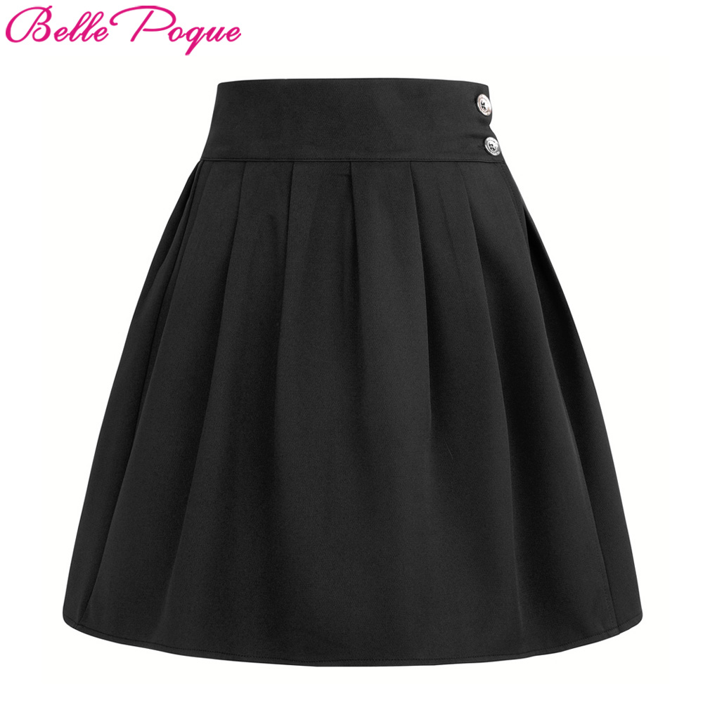 Fashion Women Skater Skirt faldas Ladies Midi Skirt 2017 Korea Clothes Double Waist Female saias Sexy Girls Mini Pleated Skirts
