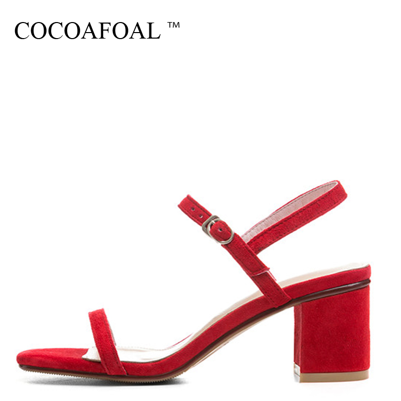 COCOAFOAL Women Red Heel Height Sandals Plus Size 33 - 40 Fashion Black Pink Wedding Shoes Sexy Sheepskin Sandals 2018 cocoafoal woamn patent leather sandals fashion heel height black white wedding shoes sexy genuine leather pointed toe sandals