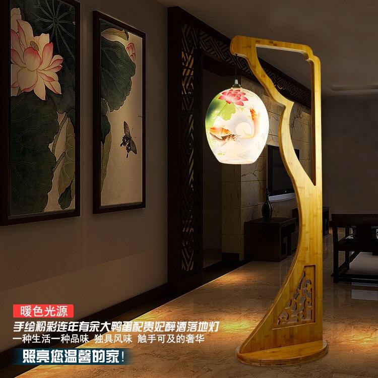 Chinese Living Room Bedroom Drunken Beauty Ceramic Floor Lamp Creative Led E27 90 260V European