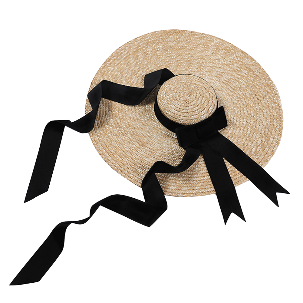 c52f78e72 Protection Sun Hat Beach Outdoor Flat Top Wheat Straw Summer Casual Fashion Women  Handmade Lace Up Anti UV Wide Brim-in Women's Sun Hats from Apparel ...