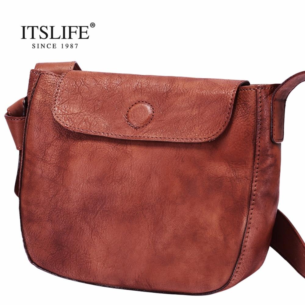 ITSLIFE Women's Small Messenger Bag Simple Designer Genuine Leather Crossbody Bag Ladies Hasp Female Bags Cowhide Usual Bags