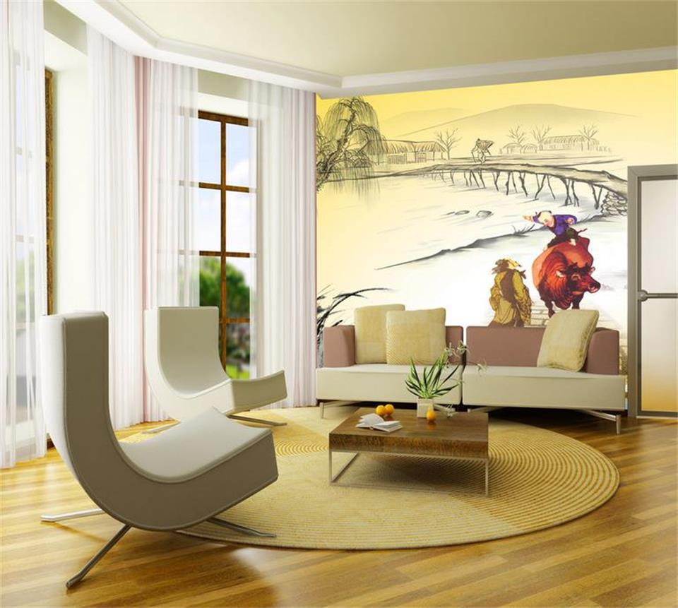 popular chinese mural wallpaper buy cheap chinese mural wallpaper custom 3d photo mural wallpaper chinese painting pastoral poetry hd photo study living room tv backdrop