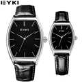 EYKI 2017 Casual Lovers Watches Simple Design Analog Display Couples Quartz Watch Business Office Genuine Leather Montre Homme