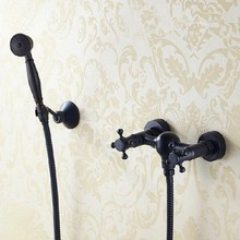 Oil Rubbed Bronze Telephone Style Wall Mounted Dual Cross Handles Bathroom Tub Shower Faucet Set w / Handheld Shower ahg011 wholesale and retail bathroom wall mounted telephone style shower faucet with dual handles