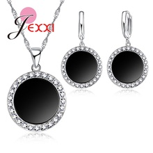 JEXXI Silver Fashion Cool Dark Black Moon With Shiny Zircon Stone Necklace Earrings Punk Style Woman Cosplay Jewelry Set