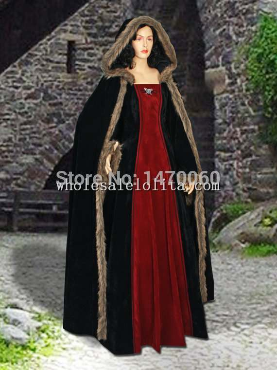 Medieval Style Fur Trimmed Faux Suede Dress With Hood Costume Handmade Renaissance Gown