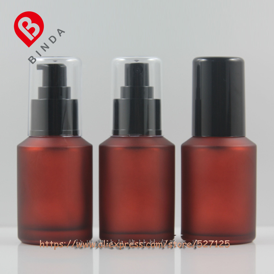 60ml red rose frosted painted glass bottle with black pump sprayer for lotion perfume essential oli