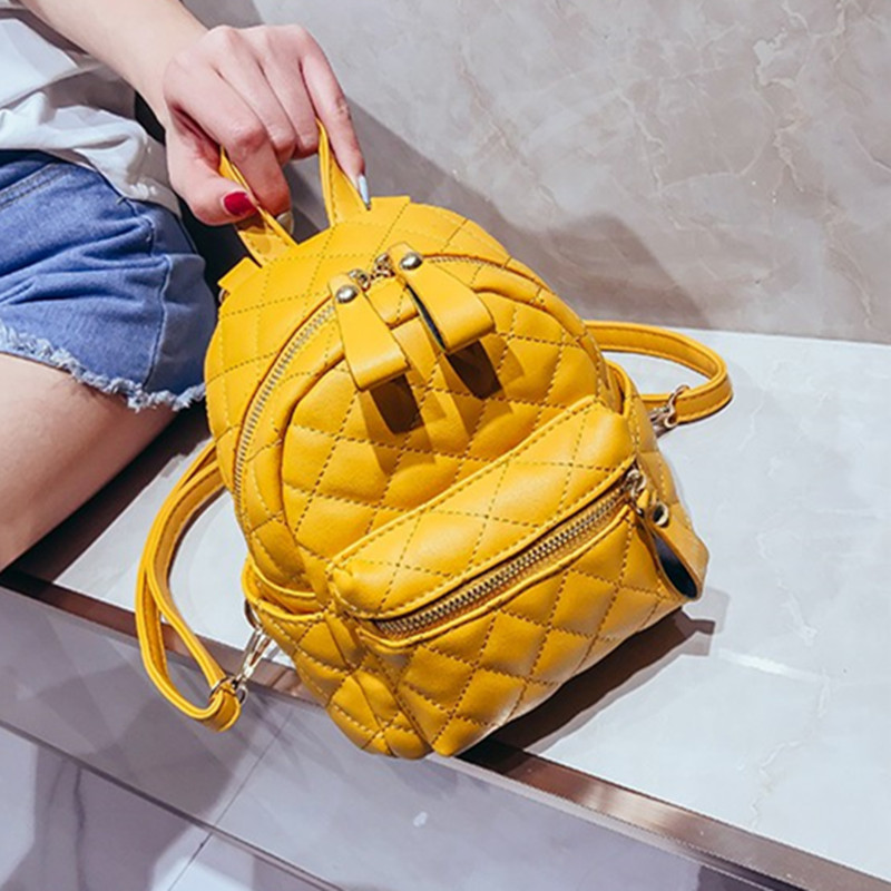27cfe638e073 Quilted Backpack for Women Diamond Lattice Knapsack Girl Packsack Rucksack  Shoulder Bag Yellow White Black 1805-in Backpacks from Luggage   Bags on ...