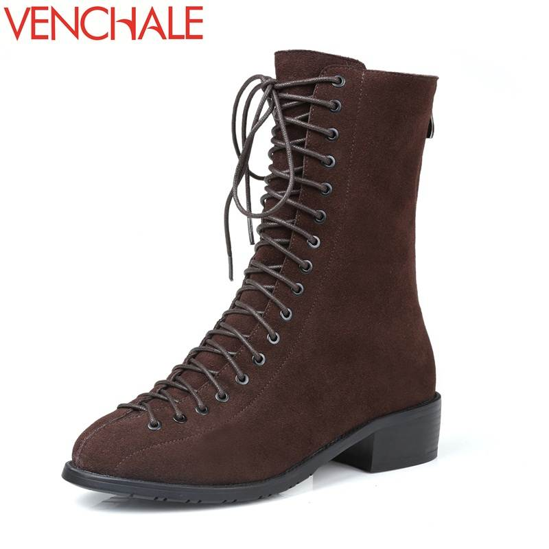 VENCHALE mid-calf boots round toe zipper thick heels grind arenaceous solid genuine leather winter warm lace-up women boots popular high quality full grain leather mid calf boots size 40 41 42 43 44 solid zipper design round toe boots