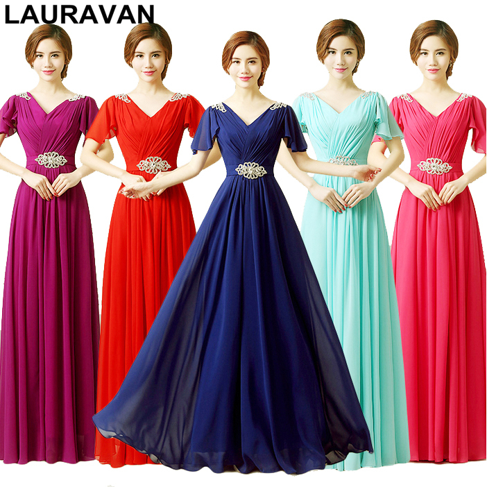 Modest Brides Maid Red Blue Purple Ladies Bridesmaid Formal Dresses Elegant Chiffon V-neck With Cap Sleeves Dress Long Gown