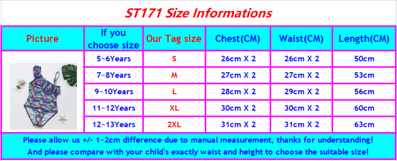 ST171 girls swimwear size chart