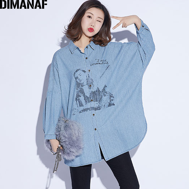 DIMANAF Women Top Shirts Autumn Female Clothing Vintage Denim Blue Long Sleeve Loose Cotton Print Plus Size Cardigan Winter 2018 1