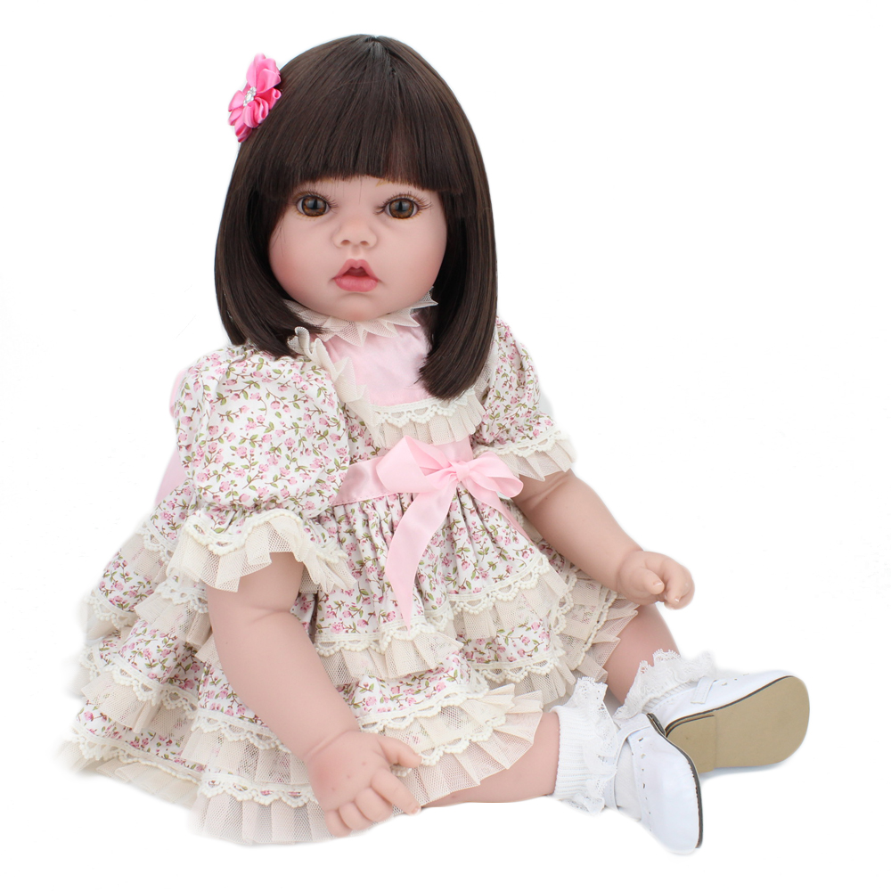 KAYDORA 22Inch 55cm Silicone Reborn Baby Dolls Alive Adorable Lifelike Realistic Toddler Cloth Body Princess Kids Christmas Gift adorable soft cloth body silicone reborn toddler princess girl baby alive doll toys with strap denim skirts pink headband dolls