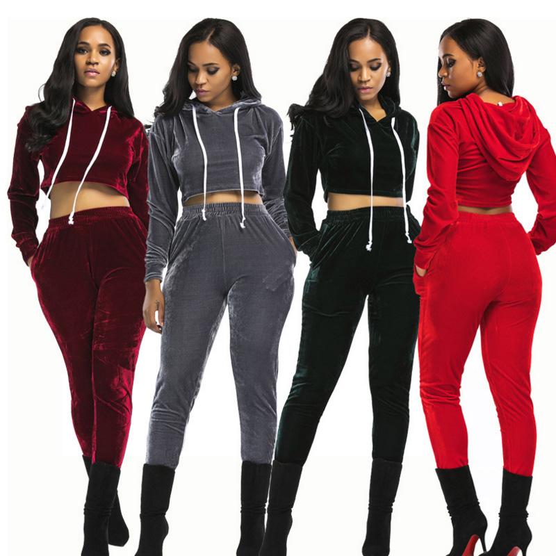 sexy crop tops Sportswear 2018 Autumn Gold Velvet Tracksuit Womens Two  Piece Set Hooded Hoodies long Pants Casual Sporting Suits-in Women s Sets  from ... 60ac4ad49a