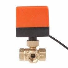 Válvula de bola motorizada de 3 vías, tres líneas, dos vías, Control de vía AC 220 DN15/DN20/DN25