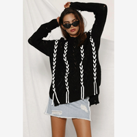 side split sweaters pullovers Autumn winter loose Casual lace up cross stripe jumpers white O neck knitted sweater women