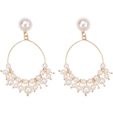 SUKI Women Boho Big Simulated Pearl Beads Cirlce Clip on Earrings Water Drop Pendientes Party Without Pierced Ear Jewelry Gift