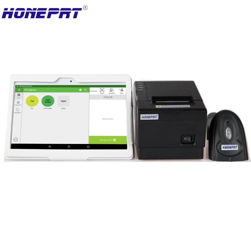 Платежные терминалы для магазин продает с 10 дюймов android сенсорный экран ПК 58 мм Термальность принтер с 1D Bluetooth Barcode reader