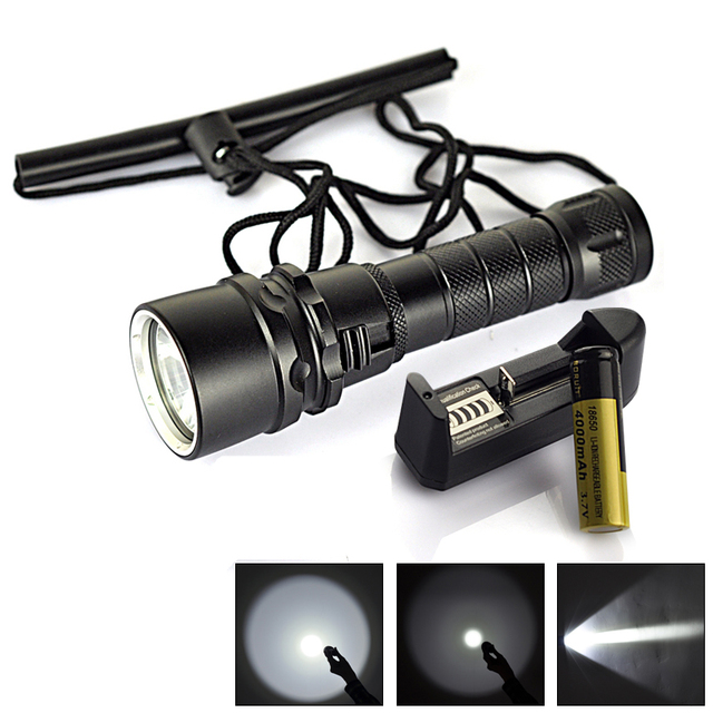 2500 Lumen 10W  XMLT6 LED Diving Flashlight 80M Underwater Lamp Waterproof LED Torch Flash Light Diver+18650 Battery/Charger