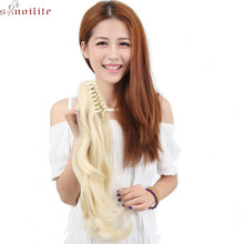 "S-noilite 18"" Long Wavy Ponytail Claw Ponytails Synthetic Hair Clip in Pony Tail Hair Extensions Curly Style Hairpiece Blonde(China)"