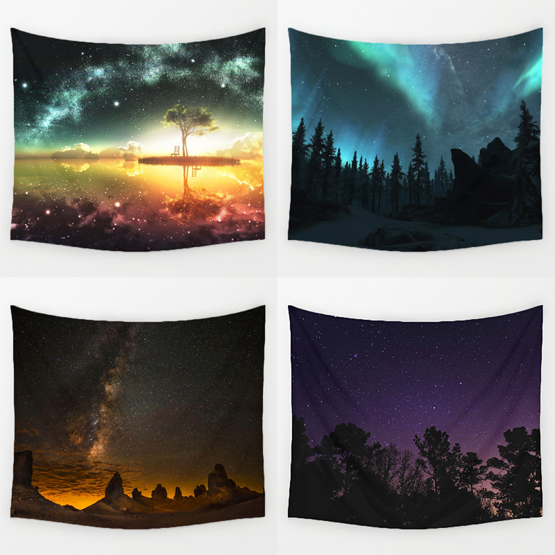 Comwarm Amazing Graceful Night Starry Sky Beautiful Sight Printed Wall Hanging Tree Natural Scenery Tapestry Living Room Decor
