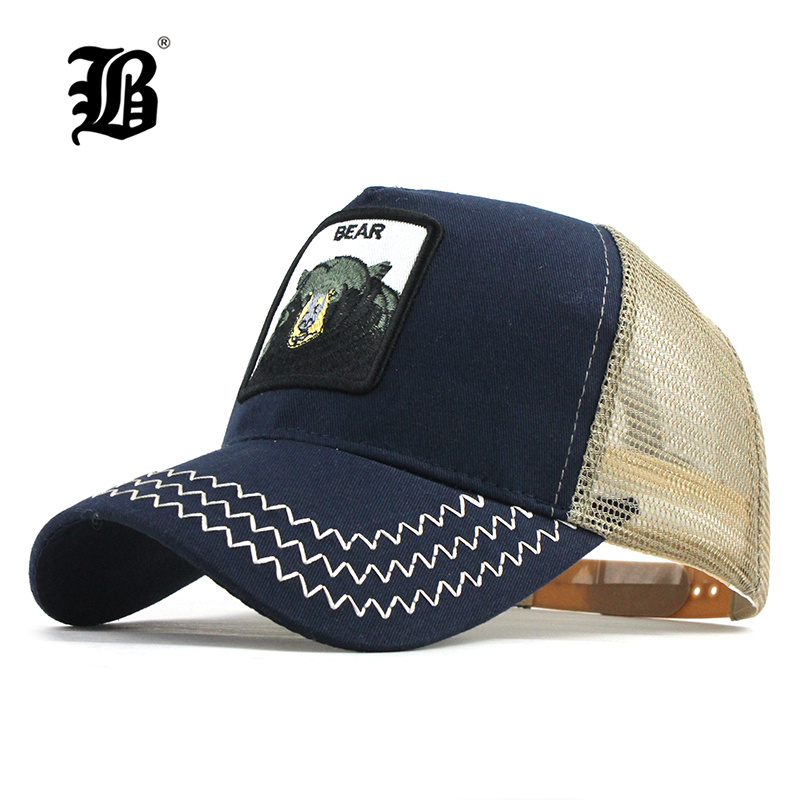 [FLB] Animals Embroidery   Baseball     Caps   Men Women Snapback Hip Hop Hat Summer Breathable Mesh Sun Gorras Unisex Streetwear F192