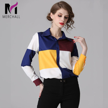 Merchall Fashion Designer Runway Shirt Spring Women Long Sleeve Color Block Print Office Lady Blouse Casual Elegant Career