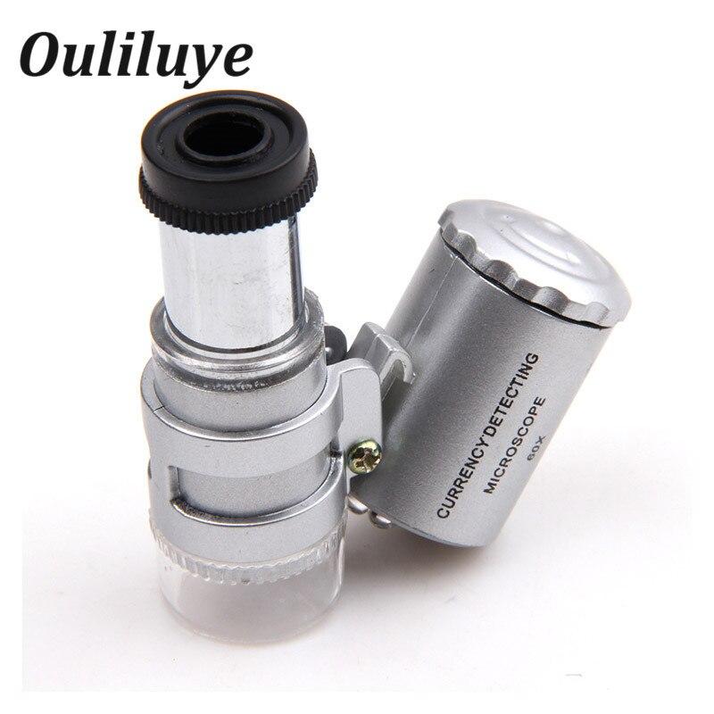 Mini 60X Microscope Magnifier Glass Jeweler Detector Loupe Len with LED UV Light